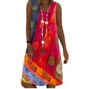 Boho Sleeveless Print Summer Dress S Nwot!